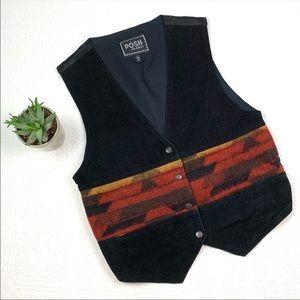 Vintage POSH Suede and Wool Western Vest SZ L